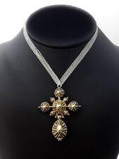 """Rare croix """"bosse"""" Normande en argent vermeil XIXe bijoux régional"""