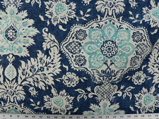 Drapery Upholstery Fabric 100% Cotton Duck Damask-Like Floral - Navy