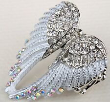 Angel Wings Stretch Ring Crystal Rhinestone Bling Jewelry Silver Clear ED01