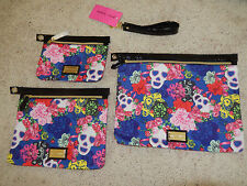 BETSEY JOHNSON 3 Zip Pouch Bag Set Masquerade Blue Pink Roses & Skulls NWT