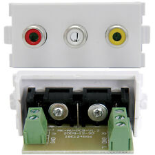 3 RCA FEMALE SOCKET MODULE/MODULAR WALL FACE PLATE OUTLET - AV AUDIO VIDEO TV