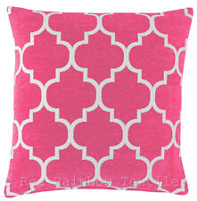 Pink & White 17 inch Luxury Chenille Moroccan Design Geometric Cushion Cover