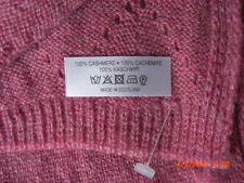 Johnstons of Elgin Rose Pink 100% Cashmere Large Pointelle Scarf & Gloves  New