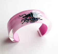 Funky designer pink lucite cuff bracelet with real exotic insect