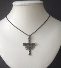 Steam Punk Gothic Black Grey And Silver Cross Spiderweb Pendant Necklace.