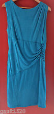 NWT REISS Beautiful Tile Effect Ruched Aqua Blue Salma Sheath Dress 10 14 $220