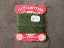 R512 Mercerie vintage collection ancienne carte rose FIL DE LIN 24/3 vert VRAU