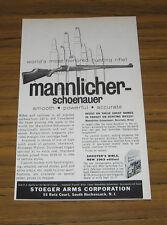 1962 Vintage Ad Mannlicher-Schoenauer Hunting Rifle Stoeger Arm S Hackensack,NJ