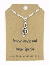 Where Words Fail Music Speaks Treble Clef Necklace Message Card Necklace New