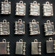 6 Book Charms True Story  Silver Tone Metal 18mm