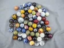 Lot of 6 Assorted Color Real Polished Tumbled Stone Crystal Marbles