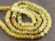 "HAND FACETED GROSSULAR GREEN GARNET RONDELLES, approx 4.3mm, 14"", 130 beads"