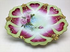 "Antique 11"" Plate with Roses and Rose Color and Green New Habsburg Austria"