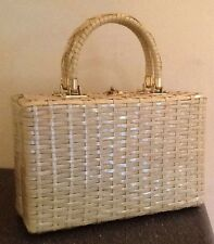 Vintage Mid-Century STYLECRAFT MIAMI Woven Wicker Box Purse Green Dual Handle