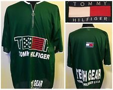 Vintage Tommy Hilfiger Green Mesh Jersey Shirt Men's XL 1/4 Zip Tech Gear FLAG