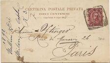 P8416   Milano, Cartolina Postale Privata per Parigi, 1892