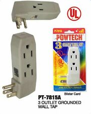 TRIPLE OUTLET GROUNDED ELECTRIC WALL 3 WAY TAP POWER ADAPTER UL LISTED PT-7815A