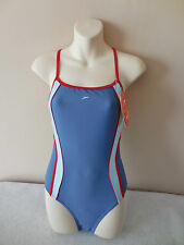 "SPEEDO SWIMWEAR FEMALE 'BV BLAST' BLUE HIGH LEG SWIMSUIT - 34"" bust - BNWT"