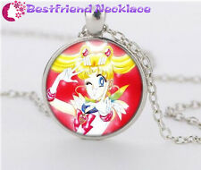 NEW Silver Anime Sailor Moon Jewelry Glass Dome Pendant Necklace#NS9