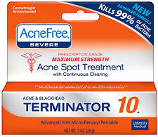 AcneFree Acne Free Terminator 10 (3 pack) Maximum Strength 10% Benzoyl Peroxide