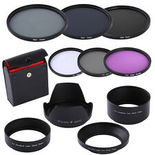 72MM UV CPL FLD ND 2 4 8 Filter Kit +Lens Hood for Canon Nikon Sigma DSLR Camera