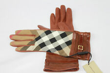 AUTH $375 Burberry Women Bridle House Check Leather Gloves 6.5