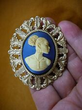 (CA20-30) RARE African American LADY ivory + navy blue CAMEO Pin Pendant JEWELRY
