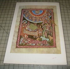 "MANGER SCENE Birth of Christ? 13"" x 18"" Book Print/Plate Medieval Art"