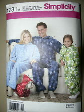 Simplicity Pattern 1731 Child's, Teens' and Adults' Fleece Jumpsuit all sizes
