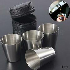 1 Set of 4 Stainless Steel Camping/Travel Cup Mug Drinking Coffee Tea With Case