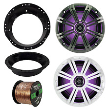 "Kicker Marine 6.5"" LED  195W Speakes, LED Remote, Harley Adapters, Speaker Wire"