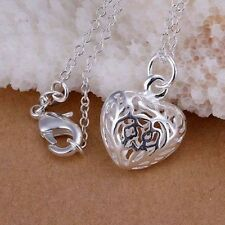 925 Sterling Silver Plated Heart Necklace Hollow Out  Pendant 18 Inch Chain Gift