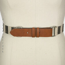RELIC Womens LARGE Black & Off White STRIPE BELT Perforated Pin TAN Faux Leather