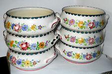 2920 GMUNDNER KERAMIK - 6 Suppen-Gulaschschüssel Blumen Bauernblumen Handmalere