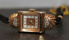Vintage Crawford Ladies 14k Gold And Diamond Wristwatch Fancy Case