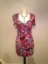 Next Runway Collection Leopard Tiger Print Purple And Red Dress Size 10