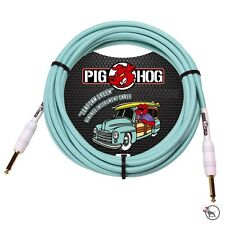 """Pig Hog PCH10SG Vintage Seafoam Green Instrument Guitar Bass Cable 1/4"""" In. 10ft"""
