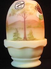 FENTON Burmese FAIRY LAMP Custard Gls SCENE hand painted Artist Sign HAUGHT TAGS
