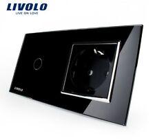 1 Gang Touch Lichtschalter + Steckdose Livolo Schwarz Kristall Glas