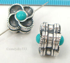 1x OXIDIZED STERLING SILVER TURQUOISE STONE FLOWER SPACER BEAD 11.2mm #2281