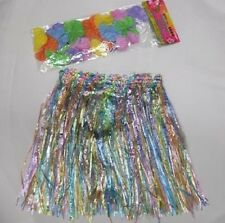 Childrens Fancy Dress Hawaiian Grass Hula Skirt & Floral Lei New