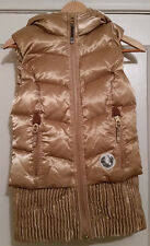 $349 NWT TRUE RELIGION *NEW* Womens Gold Quilted DOWN Puffer VEST W/HOOD LARGE
