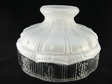 10 INCH WHITE SATIN WITH PRISMATIC SKIRT OIL LAMP SHADE  Fits Aladdin