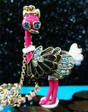 Betsey Johnson RARE Necklace PINK OSTRICH Wearing PEARLS Double LAYERED Crystal