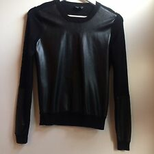 Leather Look Black Topshop Top Size 8