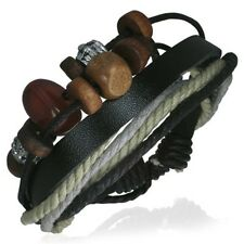 Leather Rope Beads Fashion Adjustable Surf Skater Urban Style Mens Male Bracelet