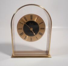 Vintage Modern ANGELUS-HECHINGER QUARTZ-Table-Shelf-Mantel Clock-Brass-W.GERMANY