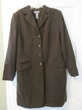 KATE HILL WOMAN BROWN BUTTON 3 POCKET LINED DRESS COAT SZ 14W