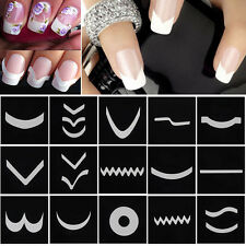 18 Sheets/Set French Manicure DIY Nail Art Tips Guides Stickers Stencil Strips #