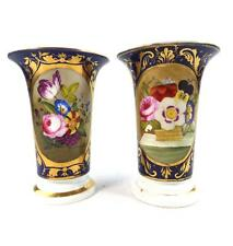 TWO ANTIQUE REGENCY DERBY PORCELAIN SPILL VASES FLOWERS BLUE GILT GROUND